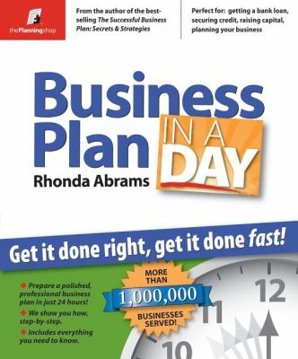Business Plan In A Day Get It Done Book By Rhonda M Abrams