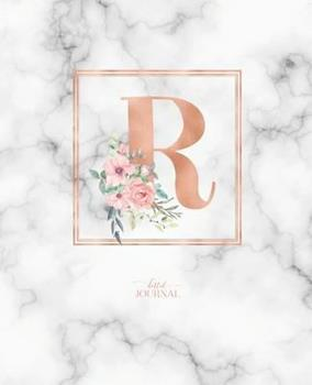 Paperback Dotted Journal: Dotted Grid Bullet Notebook Journal Rose Gold Monogram Letter R Marble with Pink Flowers (7.5 X 9.25) for Women Teens Book