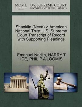 Paperback Shanklin V. American National Trust U. S. Supreme Court Transcript of Record with Supporting Pleadings Book