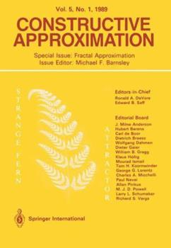 Constructive Approximation: Special Issue: Fractal Approximation 1489968164 Book Cover