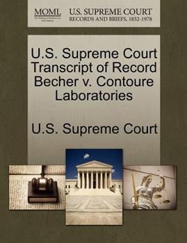 Paperback U. S. Supreme Court Transcript of Record Becher V. Contoure Laboratories Book