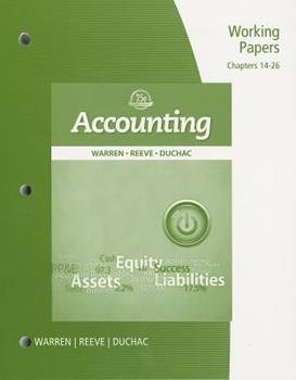 Working Papers: Chapters 14-26 for Accounting 0324382618 Book Cover