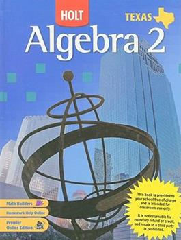 Holt Texas Algebra 2 0030416647 Book Cover