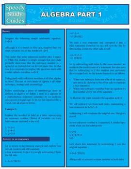 Paperback Algebra Part 1 (Speedy Study Guides : Academic) Book
