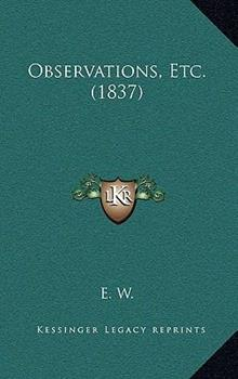 Hardcover Observations, Etc Book