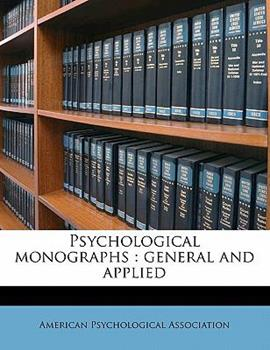 Paperback Psychological Monographs: General and Applied Volume 48 No 1 Book