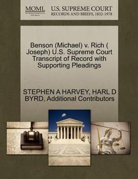 Paperback Benson V. Rich U. S. Supreme Court Transcript of Record with Supporting Pleadings Book