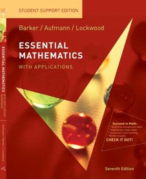 Barker Essential Math With Applications Student Support Edition Seventhedition 0547016476 Book Cover