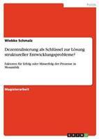 Dezentralisierung ALS Schlussel Zur Losung Struktureller Entwicklungsprobleme? 3640529987 Book Cover