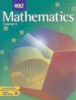 Holt Mathematics: Course 3 0030385423 Book Cover